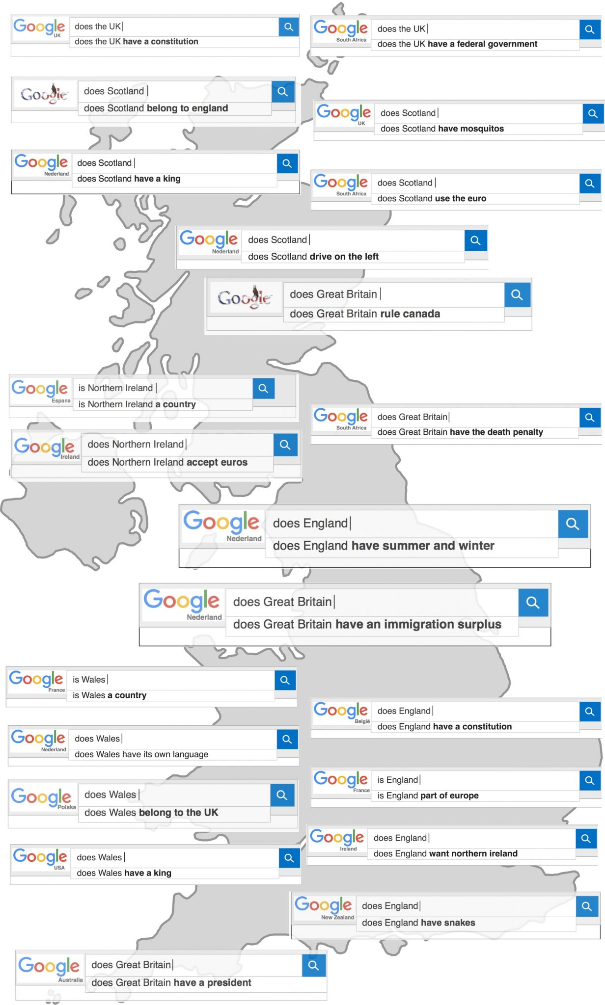 Google Autocomplete map of the UK