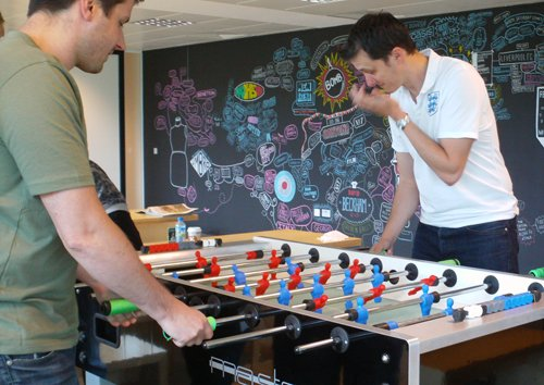 Table football in an office